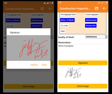 handdrawn signatures in mobile forms
